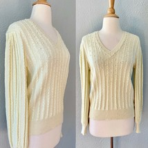Vintage 80s Ivory Creme Fuzzy Rope Pearl Knit Retro Sleeve Sweater Party... - $51.43