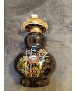 VINTAGE KAADAN LTD BLACK GLOSS GLASS FLORAL DESIGN HURRICANE OIL LAMP - $50.00