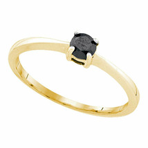 10kt Yellow Gold Round Black Color Enhanced Diamond Bridal Wedding Ring - $142.35