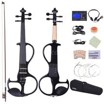 4/4 Size Black Electric Silent Violin Set w/Case,Bow and Accessories - $99.99
