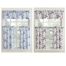 Mainstays Bistro 3 Piece Kitchen Curtain Tier and Valance Set in Blue & Red - $18.80+