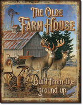 The Olde Farmhouse Deer Country Farming Tractor Farm Equipment Metal Sign - $20.95
