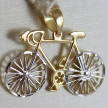SOLID 18K WHITE & YELLOW RACING BICYCLE BIKE CYCLING SATIN PENDANT MADE IN ITALY image 2