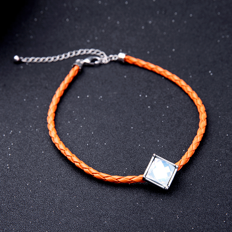 Black Orange Braided Leather Choker Necklace Women Necklace Handmade Accessories