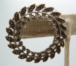 Vintage Lisner Marcasite Round Wreath Brooch Pin Costume Jewelry - $24.72