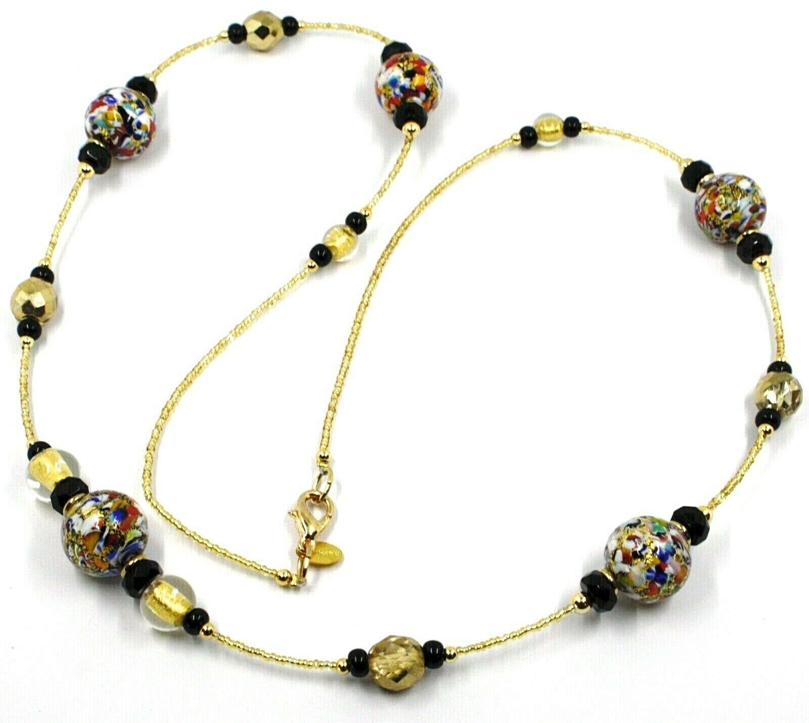 NECKLACE MACULATE LONG MULTI COLOR MURANO GLASS SPHERE, GOLD LEAF, ITALY MADE