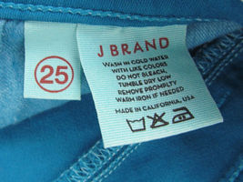 J Brand jeans Azure Ankle Skinny Zipper cuffs USA Made Teal Womens Size 25 image 7