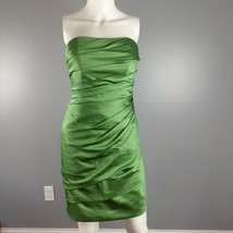 David's Bridal Womens Dress Size 2 Green Strapless Pleated Bridesmaid Prom - $34.65
