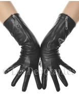 WOMENS ZIP LEATHER GLOVES MID LENGTH BIKER CAFE RACER - $39.99