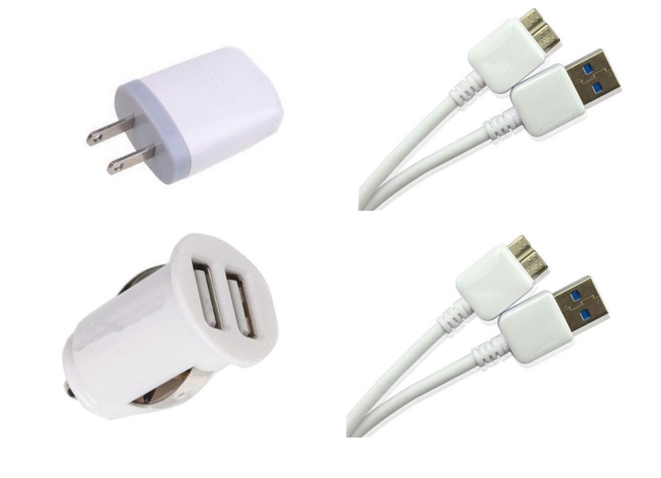 Samsung Galaxy Note 3 N900A Dual Car Charger + 2X USB 3.0 Cables + Power Plug
