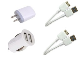 Samsung Galaxy Note 3 N900A Dual Car Charger + 2X USB 3.0 Cables + Power... - $16.10