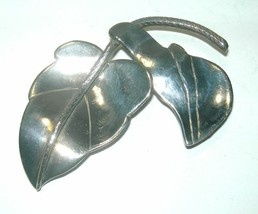 "VINTAGE STERLING SILVER EARLY MEXICO LEAVES BROOCH PIN LARGE 2x3"" - $115.00"