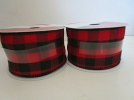 Celebrate It Red Black Check Wired Ribbon 2½ in. x 25 ft New Set Of 2 - $15.95
