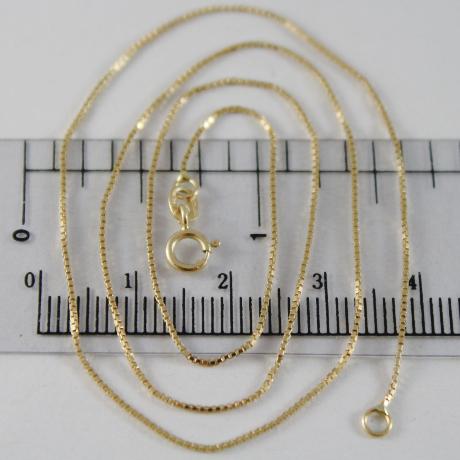 18K YELLOW GOLD CHAIN MINI 0.8 MM VENETIAN SQUARE LINK 17.70 INCH MADE IN ITALY
