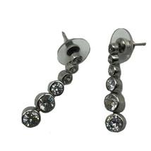 Graduated Bezel Set Crystal Silver Tone Fashion Earrings Dangle Classic ... - $16.79