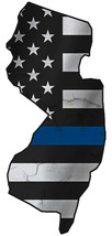 Thin Blue Line Police State of  New Jersey Laser CutOut Metal Sign 17Hx8W - $25.74