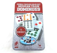 Cardinal Double Twelve Jumbo Color Dot Mexican Train Dominoes 91 Pcs Metal Tin - $29.69