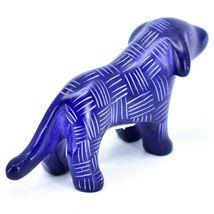 Tabaka Chigware Hand Carved Kisii Soapstone Dark Blue Standing Puppy Dog Figure image 3