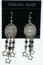 New Old Stock Sterling Silver Long Engraved Star Southwestern Dangle Earrings - $19.80