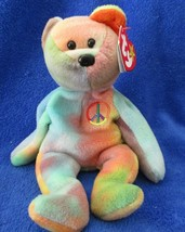 Ty Beanie Baby Peace Bear 2 Tag Errors  1996 - $34.64