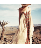 Boho Inspired Floral Embroidery Summer Dress - $72.95