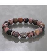 Matte Rhodonite & Hematite Buddha Gemstone Stretch Bracelet Gift for Wom... - $32.99