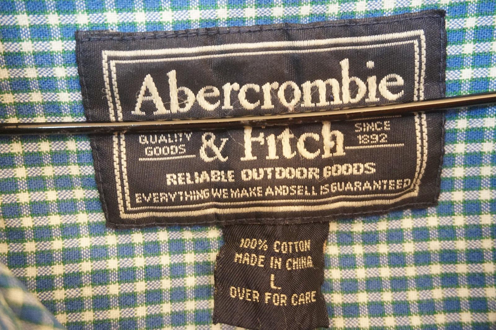 Abercrombie Heavy Cotton Button-Front Shirt, Blue, Plaid, Mens Large 8326
