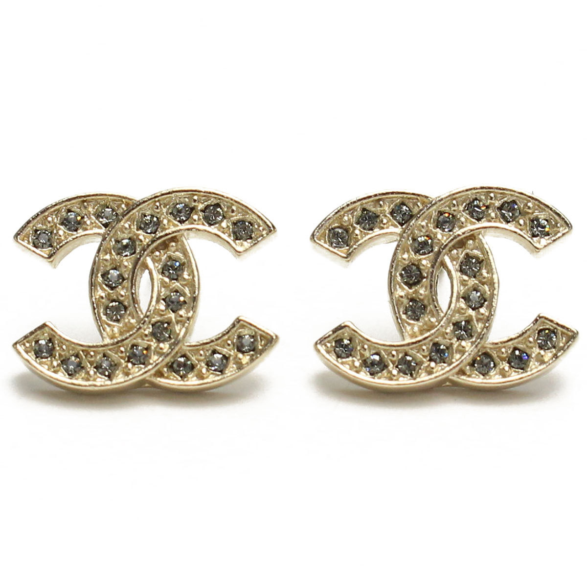 NEW Authentic Chanel Classic LARGE CC Logo Crystal Strass GOLD Stud Earrings