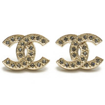 NEW Authentic Chanel Classic LARGE CC Logo Crystal Strass GOLD Stud Earrings  - $488.00