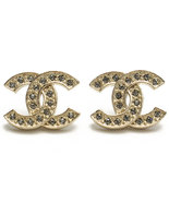 NEW Authentic Chanel Classic LARGE CC Logo Crystal Strass GOLD Stud Earr... - $488.00