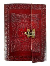Spell Book Planner Brass Lock Leather Blank Notebook Diary Journals Gift... - $44.32