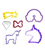 Unicorn Magic Rainbow Diamond Shooting Star Set Of 6 Cookie Cutters USA ... - $12.99