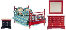 Dollhouse Miniature Double Bedroom Set, 4 pc, Mahogany Finish #T3769 - $62.53