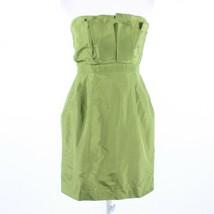 Olive green 100% silk J. CREW built-in boning bubble dress 8 - $34.99