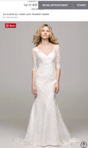 David's bridal 3/4 sleeve All over Lace Trumpet Gown Wedding dresses siz... - $199.00