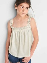 GAP Kids Girls Tank Top 10 12 Off White Eyelet Knit Cotton Curve Hem Squ... - $14.99