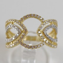 White Gold Ring and Yellow 750 18k, fascia, Pavé Zirconia, Made in Italy image 1