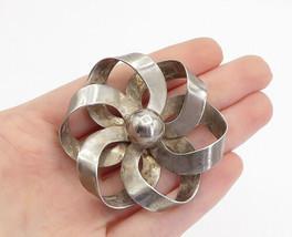 NAPIER 925 Sterling Silver - Vintage Smooth Ribbon Flower Brooch Pin - BP5789 - $83.53