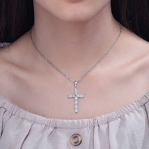 White & Blue Cross Opal Pendant & Necklace Silver Plated Gem Crucifix Charm With image 6