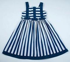 SYLVIA WHYTE BOUTIQUE GIRLS SZ 6 DRESS NAVY WHITE NAUTICAL STRIPED BOWS ... - $19.79