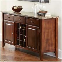 Solid Wood Marble Top Wine Rack Storage Buffet Sideboard Cherry Server C... - $619.95