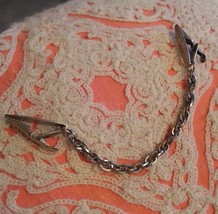 Vintage Engraved silver chain sweater collar clip grip - $9.00