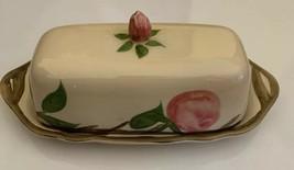 "Antique Franciscan Desert Rose Butter Dish England Expensive Stamp 8.5 X 3.5"" - $123.74"