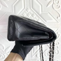 100% Authentic Chanel BLACK QUILTED LAMBSKIN JUMBO CLASSIC DOUBLE FLAP BAG SHW image 4