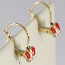 Baby Earrings in Yellow 750 18k charms, with butterflies Enamel, 1.7 cm image 2