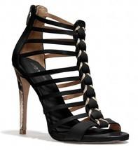 Coach Josey Black Roccia Leather Snake Print High Heels Sandals Size 10B - $73.92
