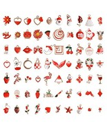 73Pcs Christmas Enamel Charms for Jewelry Making, Kalolary Red Color Ass... - $32.20