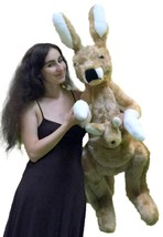American Made Big Stuffed Kangaroo 42 Inches Tall With Baby in Pouch Mad... - $127.11