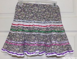 Native American Ribbon Skirt Girls Small Purple Pastel Greens Flowers Ru... - $24.99