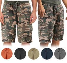 Men's Drawstring Elastic Waist Multi Pocket Lightweight Cotton Cargo Shorts